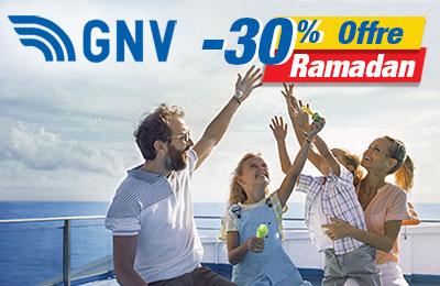 -30% de réduction sur les voyages aller-retour vers la Tunisie avec GNV!